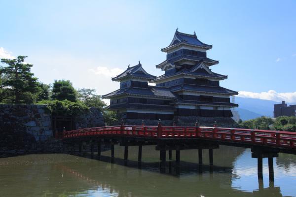松本城と朱塗りの橋