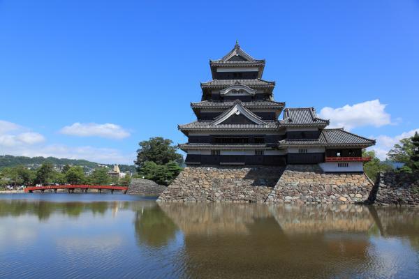 夏空と松本城