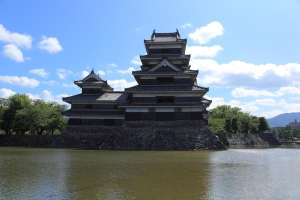 西側からの松本城