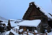 雪の白川郷・連なるかやぶき家屋