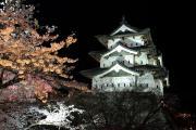 夜桜ライトアップ、弘前城