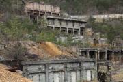 尾去沢鉱山、選鉱場跡のアップ